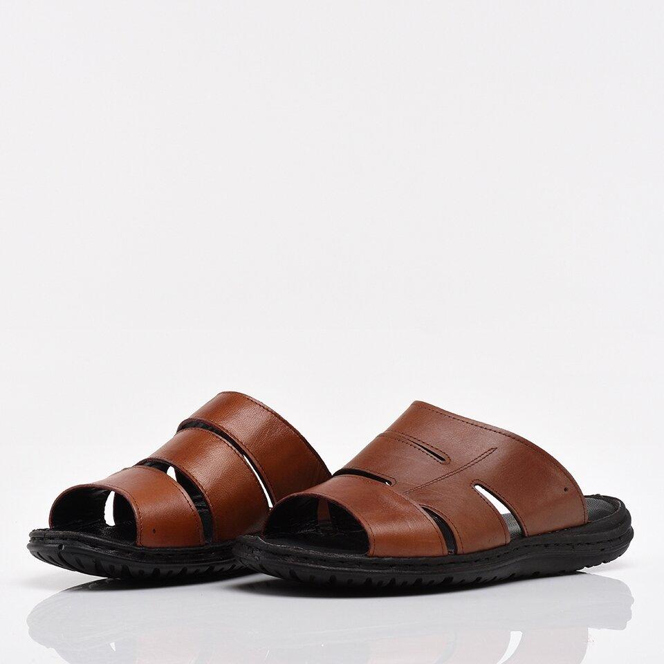 resm Hakiki Deri Taba Erkek Sandalet & Terlik