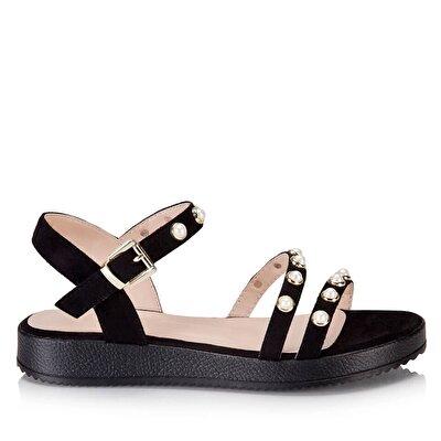 Resim  Siyah Kadın Düz sandalet