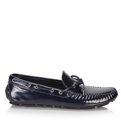 Resim Hakiki Deri Lacivert Erkek Loafer