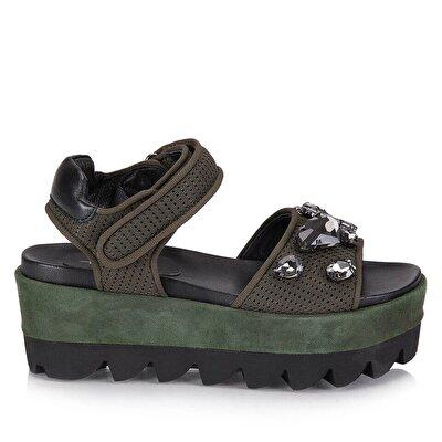 Resim Tekstil Haki Kadın Topuklu Sandalet