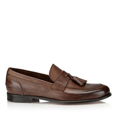 Resim Hakiki Deri Bej Erkek Loafer