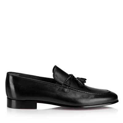Resim Hakiki Deri Siyah Erkek Loafer