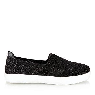 Resim Tekstil Siyah Kadın Düz Ayakkabı