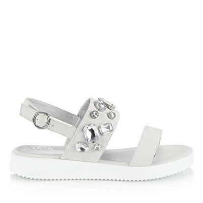 Resim  Gri Kadın Düz sandalet