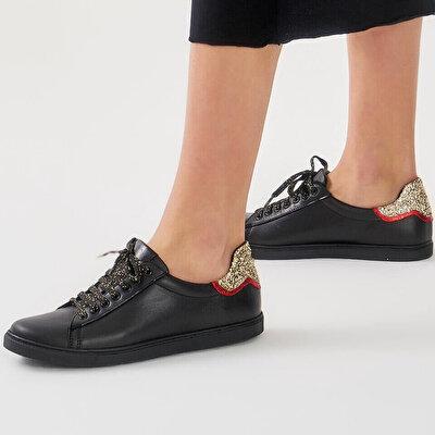 Resim Hakiki Deri Siyah Kadın Spor Ayakkabı