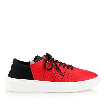 Resim Hakiki Deri Kırmızı Erkek Spor Ayakkabı