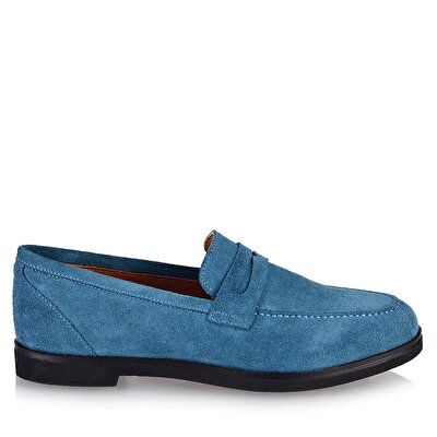 Resim Hakiki Deri Mavi Kadın Loafer