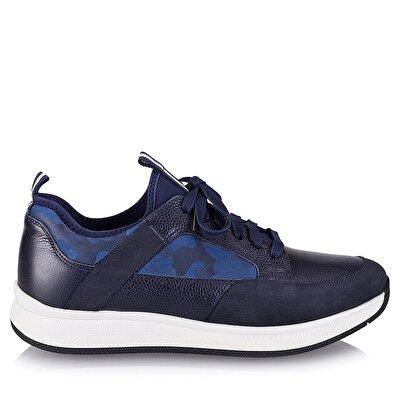 Resim Hakiki Deri Lacivert Erkek Spor Ayakkabı