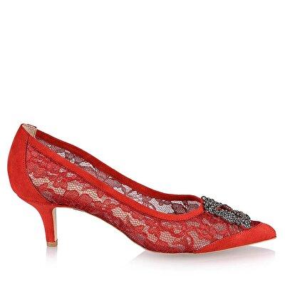 Resim Tekstil Kırmızı Kadın İnce Topuk