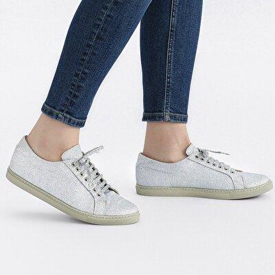 Resim Tekstil Lame Kadın Spor Ayakkabı