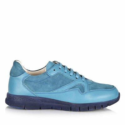 Resim Hakiki Deri Mavi Kadın Spor Ayakkabı