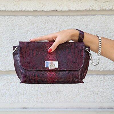 Resim Hakiki Deri Bordo Çanta&Aksesuar Mini (Çapraz) Çanta