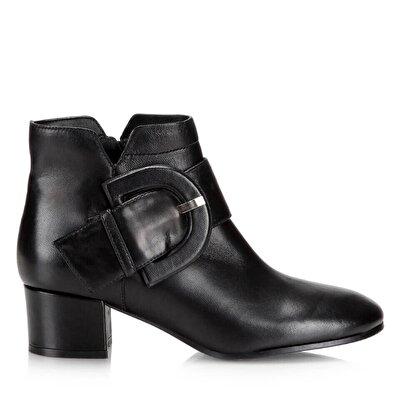 Resim Hakiki Deri Siyah Kadın Topuklu Bot