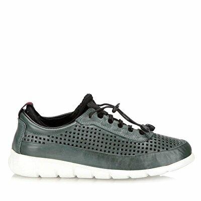 Resim Hakiki Deri Yeşil Erkek Spor Ayakkabı