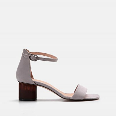 Resim Hakiki Deri Gri Kadın Topuklu Sandalet