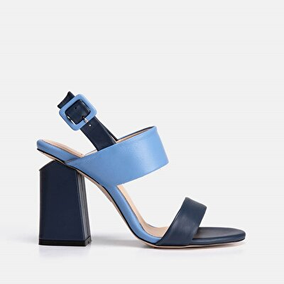 Resim Hakiki Deri Lacivert Kadın Topuklu sandalet