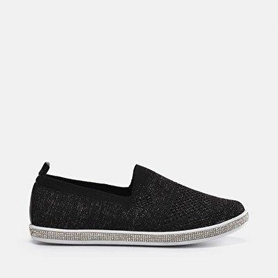 Resim Tekstil Siyah Kadın Spor Ayakkabı