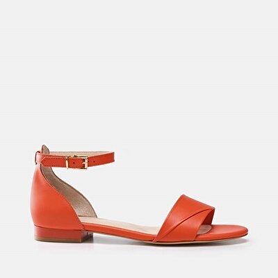 Resim Hakiki Deri Nar Kadın Düz sandalet