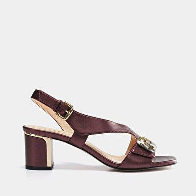 Resim Hakiki Deri Bordo Kadın Topuklu Sandalet