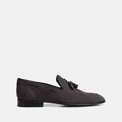 Resim Hakiki Deri Gri Erkek Loafer