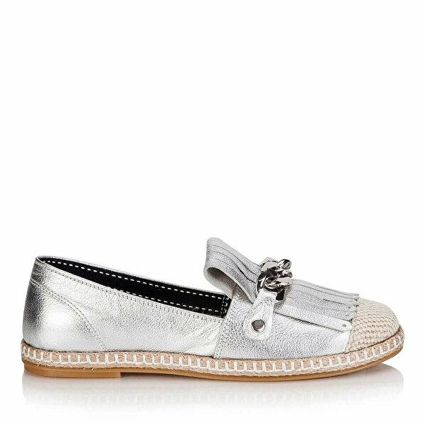 Resim Hakiki Deri Lame Kadın Düz Ayakkabı