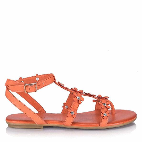 Resim Hakiki Deri Turuncu Kadın Düz Sandalet