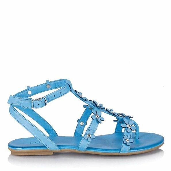 Resim Hakiki Deri Mavi Kadın Düz Sandalet