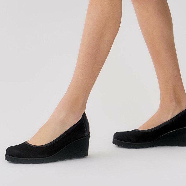 Resim Hakiki Deri Siyah Kadın Dolgu Topuk