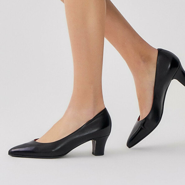 Resim Hakiki Deri Siyah Kadın Kalın Topuk