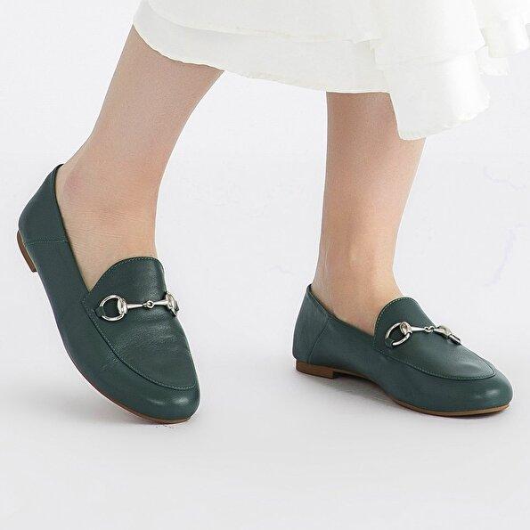 Resim Hakiki Deri Yeşil Kadın Loafer