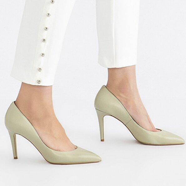 Resim Hakiki Deri Yeşil Kadın Stiletto
