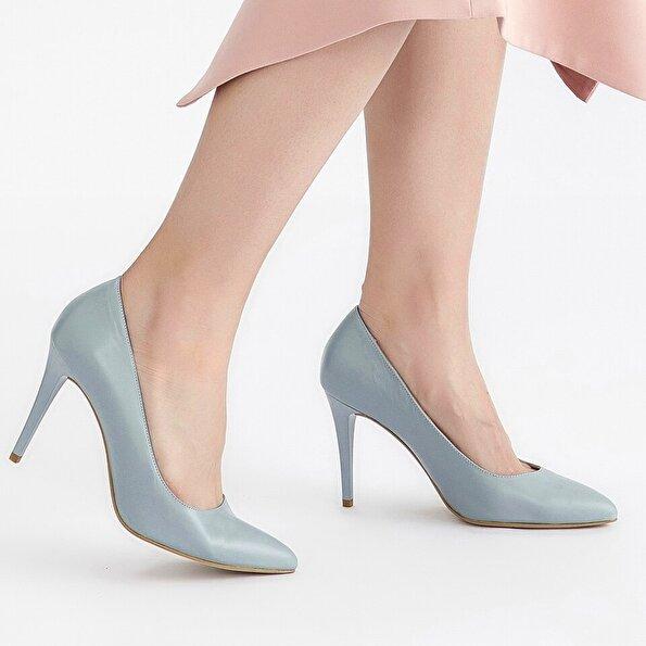 Resim Hakiki Deri Mavi Kadın Stiletto