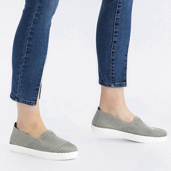 Resim Tekstil Gri Kadın Loafer