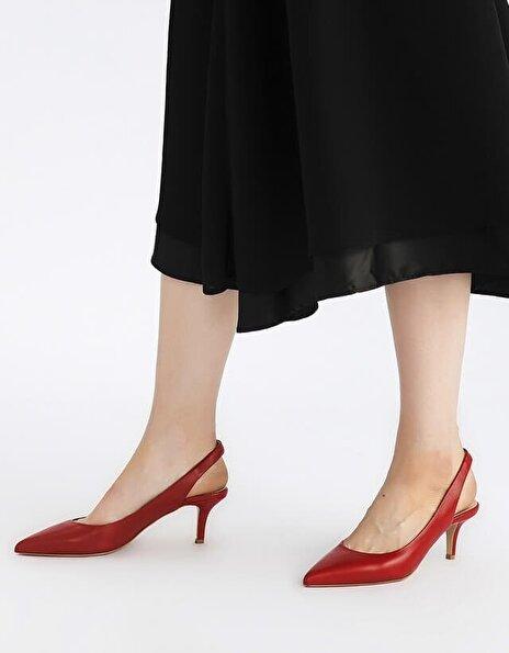 Resim Hakiki Deri Kırmızı Kadın İnce Topuk