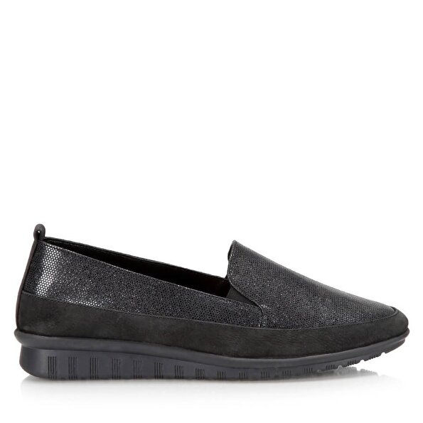Resim Hakiki Deri Siyah Kadın Düz Ayakkabı