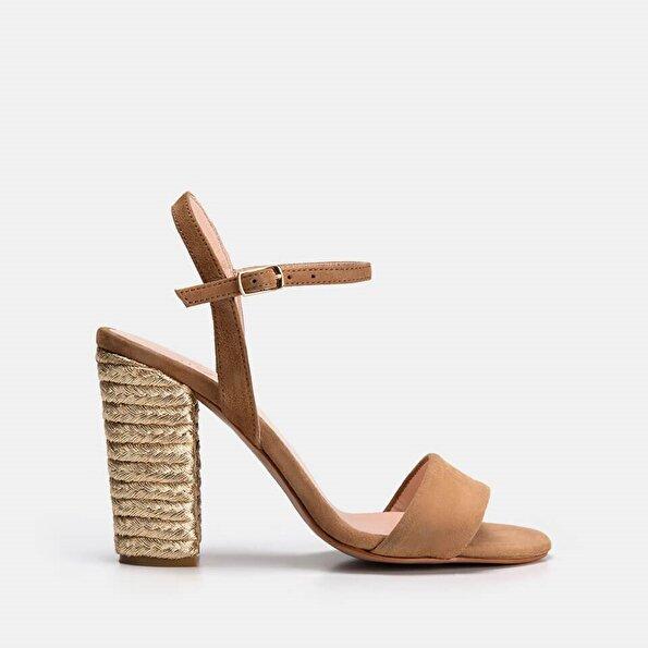 Resim Hakiki Deri Taba Kadın Topuklu sandalet