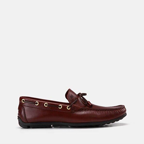 Resim Hakiki Deri Bordo Erkek Loafer