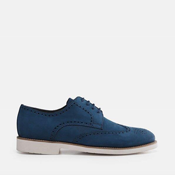 Resim Hakiki Deri Mavi Erkek Günlük Ayakkabı