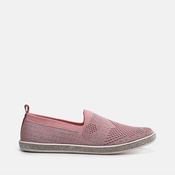 Resim Tekstil Pembe Kadın Spor Ayakkabı