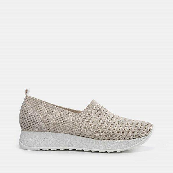 Resim Tekstil Kemik Kadın Spor Ayakkabı
