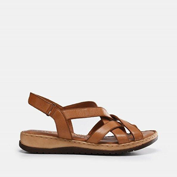 Resim Hakiki Deri Taba Kadın Düz sandalet