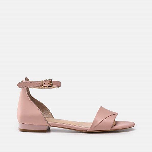 Resim Hakiki Deri Pembe Kadın Düz sandalet