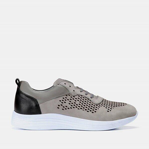 Resim Hakiki Deri Gri Erkek Spor Ayakkabı