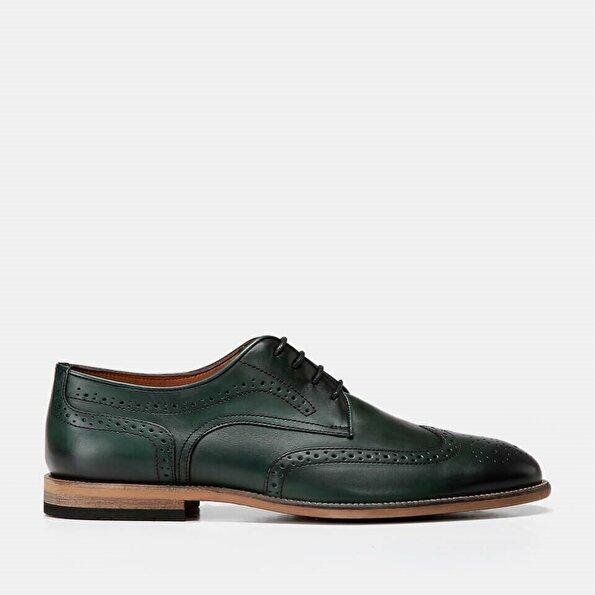 Resim Hakiki Deri Yeşil Erkek Klasik Ayakkabı