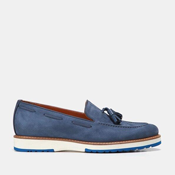 Resim Hakiki Deri Mavi Erkek Loafer