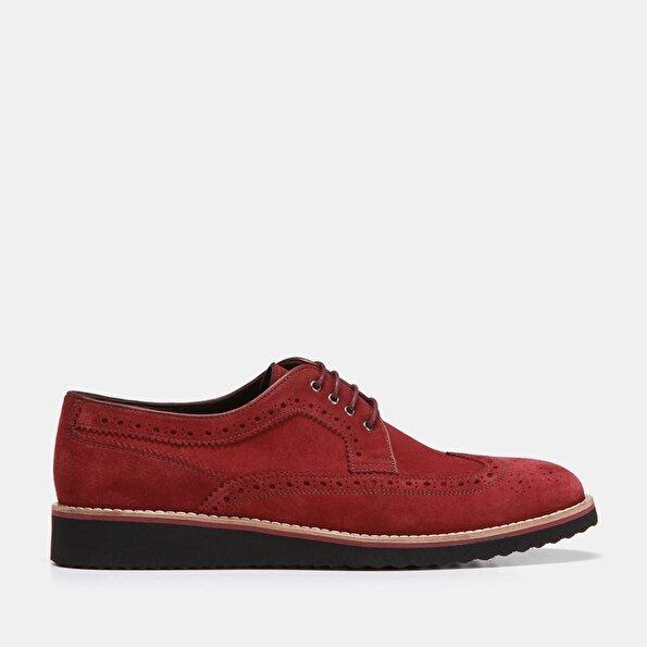 Resim Hakiki Deri Bordo Erkek Günlük Ayakkabı