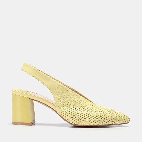 Resim Hakiki Deri Sarı Kadın Kalın Topuk
