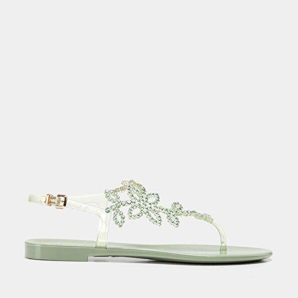 Resim  Yeşil Kadın Düz Sandalet