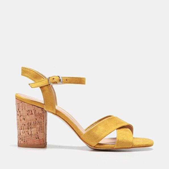 Resim  Sarı Kadın Topuklu Sandalet