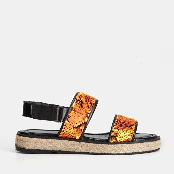 Resim Tekstil Turuncu Kadın Düz Sandalet